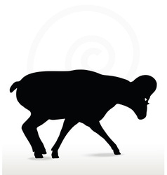 big horn sheep silhouette in down the hill pose vector image