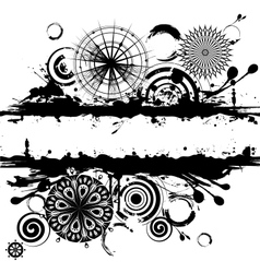 black and white circles abstract vector image vector image