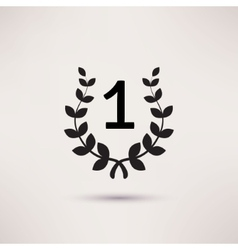 Black silhouette winner icon or number 1 sign vector