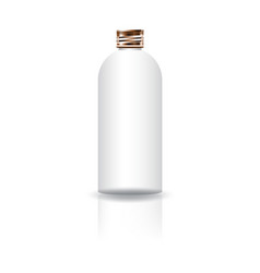 Blank white cosmetic round bottle with copper lid vector