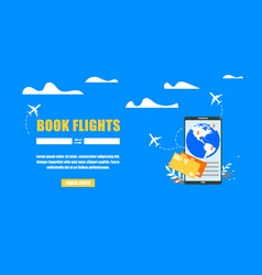 booking airline tickets online flat website vector image