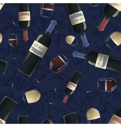 Bottles of red and white wine on blue background vector image