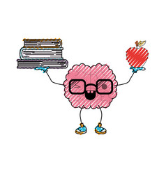 brain cartoon with glasses holding books and apple vector image