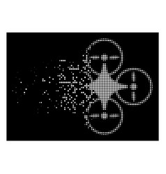 Bright disappearing pixel halftone air copter icon vector