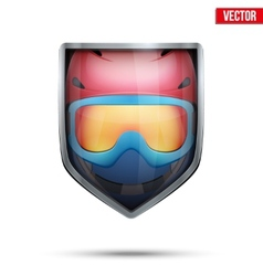 Bright shield in the ski helmet and goggles inside vector image vector image