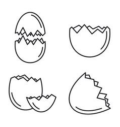 broken eggshell icons set outline style vector image