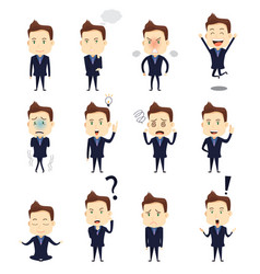 Businessman expression icons vector