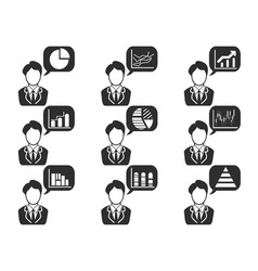 businessman with statistics symbol in speech vector image
