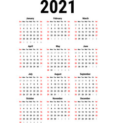calendar for 2021 vector image