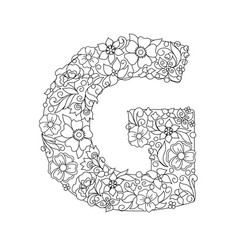Capital letter g patterned with abstract flowers vector