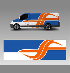 Cargo van decal with green wave shapes truck and vector