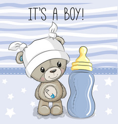 cartoon teddy bear with feeding bottle vector image