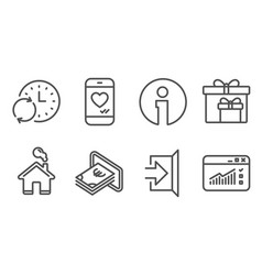 Cash update time and delivery boxes icons exit vector