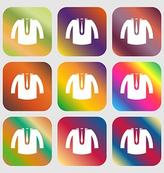casual jacket icon sign Nine buttons with bright vector image vector image