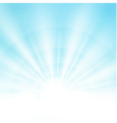 center sunburst light effect on soft clean blue vector image