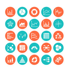 Chart types flat glyph icons line graph column vector