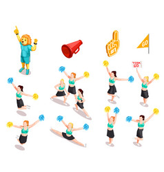 Cheerleading competition characters set vector