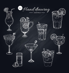 cocktails hand drawn collection vector image