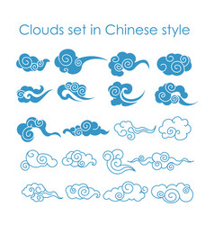 Collection of blue clouds vector