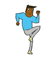 Comic cartoon man jogging on spot vector