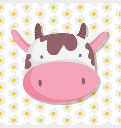Cow face farm animal cartoon flowers decoration vector