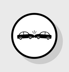 crashed cars sign flat black icon in vector image