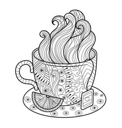 cup of tea coloring book vector image