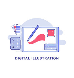 Digital pen drawing on tab nearby tool box vector