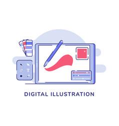 Digital pen drawing on tab neartool box vector