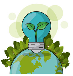 Ecology world bulb plant forest green concept vector