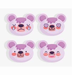 emojis kawaii cartoon faces cute bear vector image