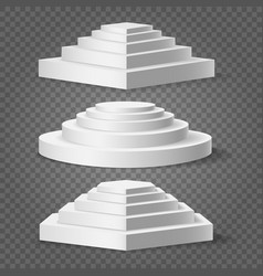 empty square and circular podiums vector image