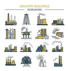 Factory buildings icon set Colour version design vector image