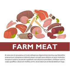 Farm meat sausages and delicatessen poster vector