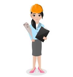 Female architect holding blueprint vector