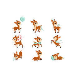 flat set cute fawn in different actions vector image