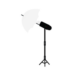 flat studio flash umbrella light at tripod vector image