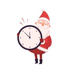 funny santa claus holding wall clock cute vector image