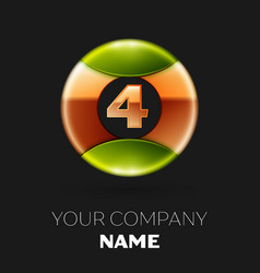 golden number four logo symbol in the circle vector image