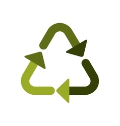 Green recycling symbol shape with arrows vector