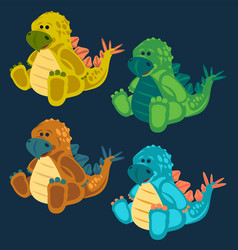 green toy baby dinosaur set vector image