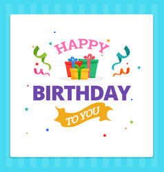 Happy birthday card typography with party vector