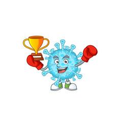 Happy face boxing winner fever coronavirus vector