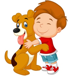Happy young boy lovingly hugging his pet dog vector
