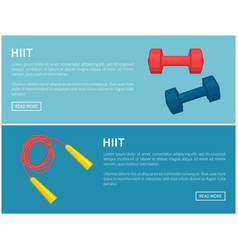 hiit skipping rope and dumbbells pair color card vector image