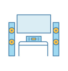 home theater system with tv color icon vector image