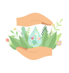 Human hands holding fresh water drop green leaves vector