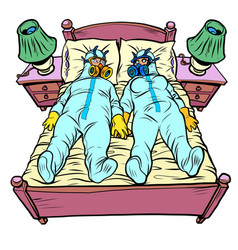 Husband and wife in bedroom virus protection vector