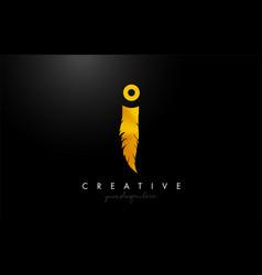 I golden gold feather letter logo icon design vector