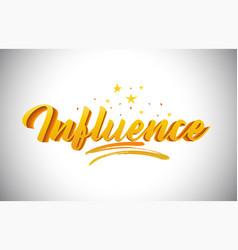 Influence golden yellow word text vector